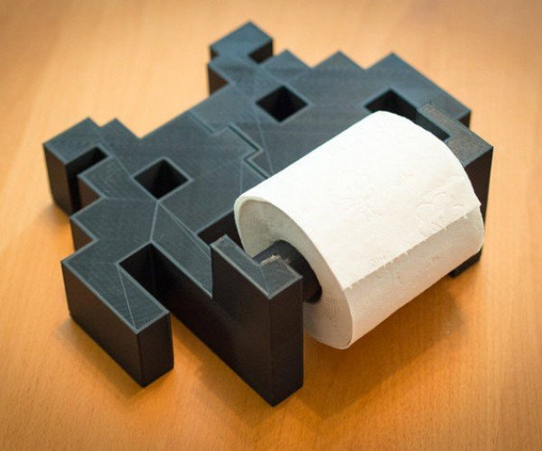 The Space Invaders Toilet Paper Roll Holder: Pew-Pew, Poo-Poo