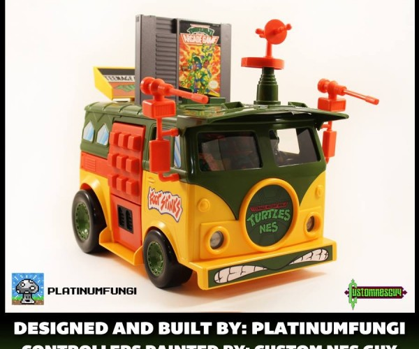 NES Crammed Inside TMNT Party Wagon: Teenage Mutant Nintendo Turtles