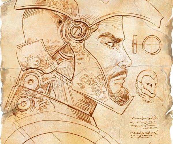If Iron Man Was Drawn by Leonardo da Vinci