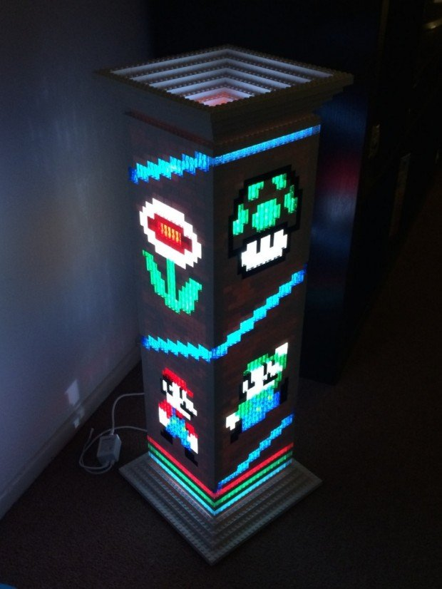 mario brothers lego lamp is a classy gamer night light technabob. Black Bedroom Furniture Sets. Home Design Ideas