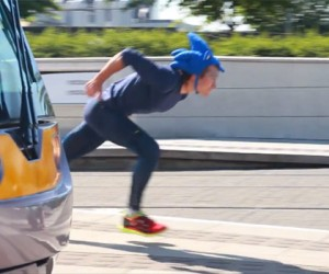 Real Life Sonic the Hedgehog Outruns a Tram