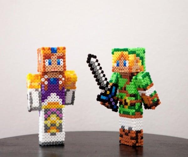 Legend of Zelda Link and Zelda Minecraft Figures