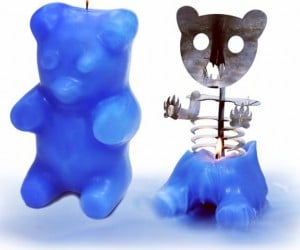 Gummi Bear Candle Melts to Reveal Its Skeletal Insides