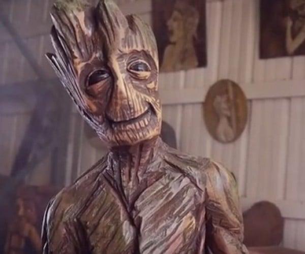 Chainsaw Artist Sculpts an Actual Wood Groot