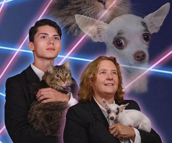 Principal and Her Dog Join the Fight for Laser Cat Yearbook Photo