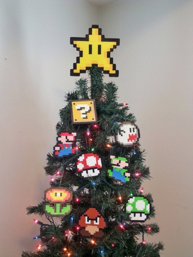 You get nine pieces to hang on your tree with glee: Mario, Luigi, Goomba,  Ghost, Item Block, Mushroom, Fire Flower and a 1up Mushroom ornament, ... - Super Mario Bros. Christmas Ornament Set: Have A Merry Mario And A