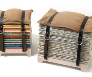 Clever Stool Lets You Sit on Those Old Magazines