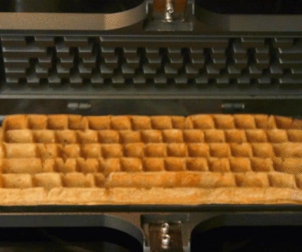 Keyboard Waffle Iron Spells Delicious