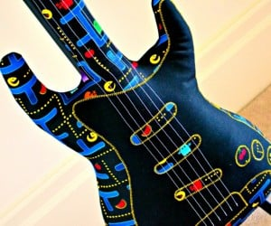Pac-Man Electric Guitar Pillow: Rest Your Head, You Have Pac-Man Fever