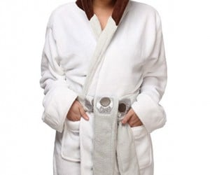 Princess Leia Fleece Robe Has Hoodie Hair Buns