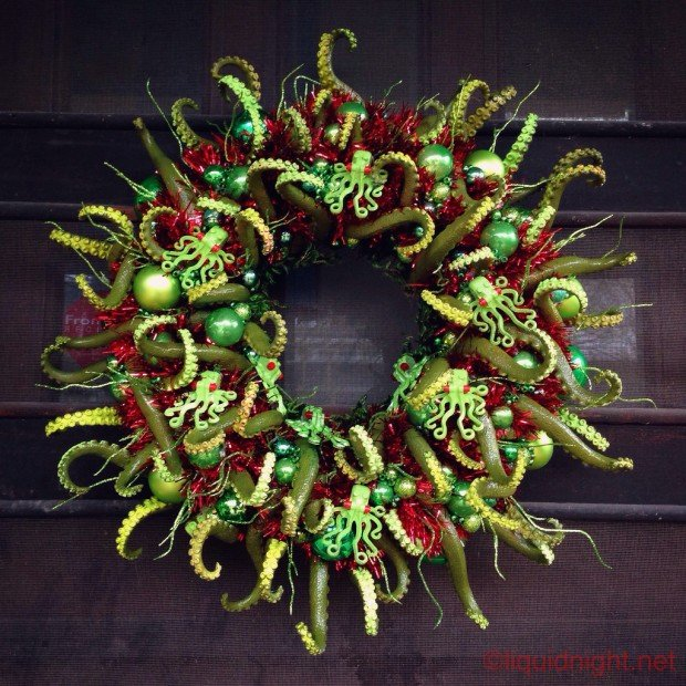 My tentacular wreath creature, completed at last. - Imgur