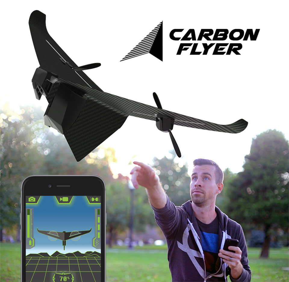 The Lightweight And Very Strong Material Helps Drone Fly Longer Distances Survive Inevitable Crash Carbon Flyer Is Controlled Via Bluetooth