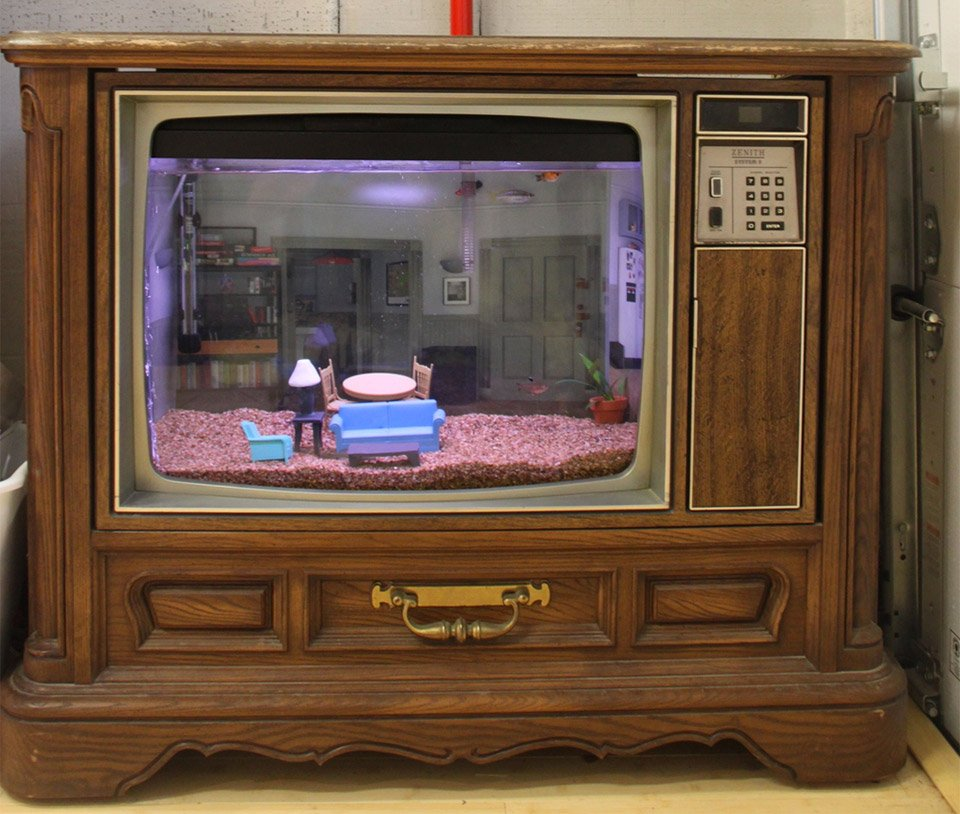 This Aquarium Is In An Old Tv Looks Like Seinfeld S