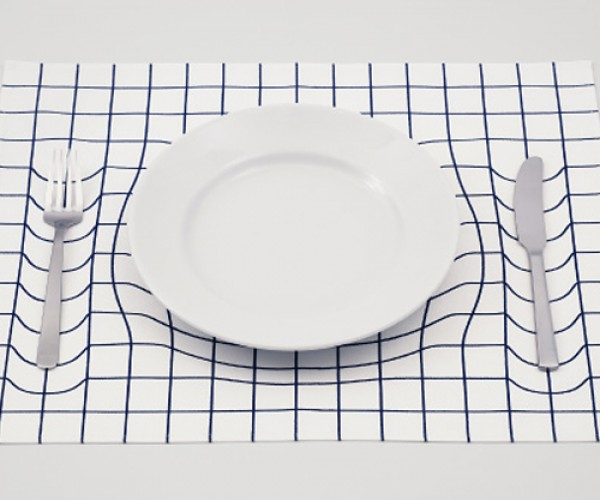 Optical Illusion Warped Placemat: You're Eating All of That?!