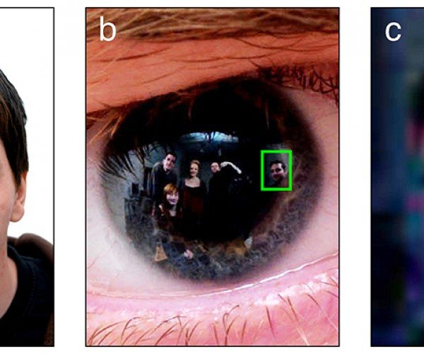 Extracting Faces from Eye Reflections in Photographs: Zoom in and Enhance