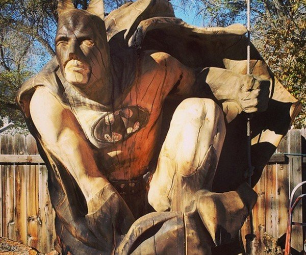 Chainsaw Carved Wood Batman Sculpture: The Bark Knight