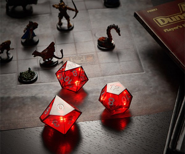 Critical Hit LED Dice Set Flashes When You Roll the Big Number