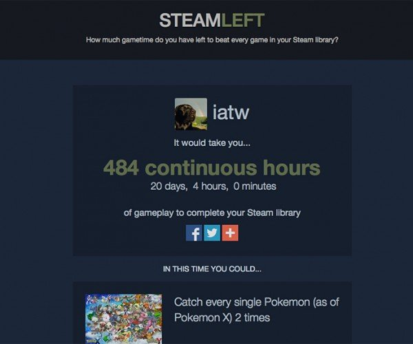 SteamLeft Tells You How Long It Would Take to Finish Your Steam Games
