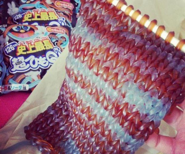 Scarf Knitted with Gummy Worms