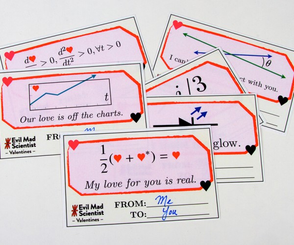 Evil Mad Scientist Valentine's Cards: All is Balanced in Love and Math