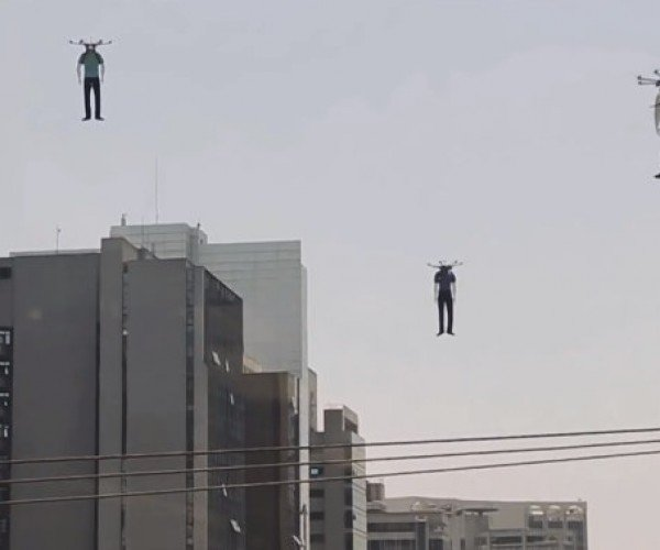 Look! Up in the Sky! Headless Mannequins Attached to Hexacopters!