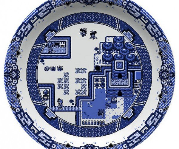 Blue Willow Plates with Game Boy Graphics