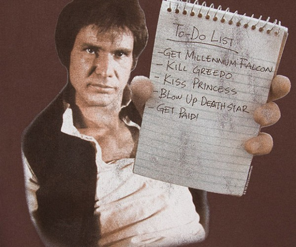 Han To-Do List T-Shirt Smuggles Your Guns