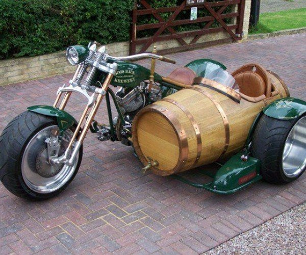 This Motorcycle Has a Beer Barrel Sidecar