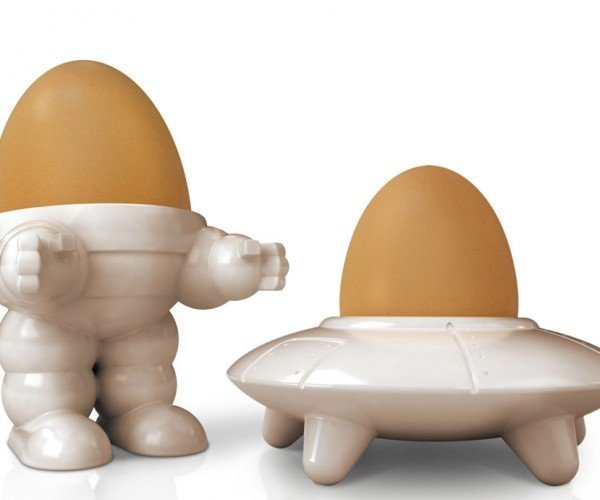 Eggbot & Eggsplorer Egg Cups Invade Breakfast Tables