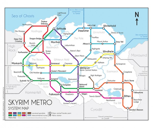 The Elder Scrolls V Metro System Map: Cities: Skyrim