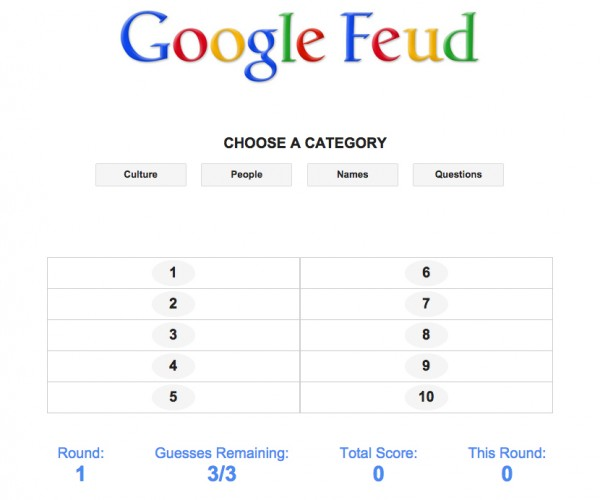 Google Feud Browser Game: Autocomplete Says…