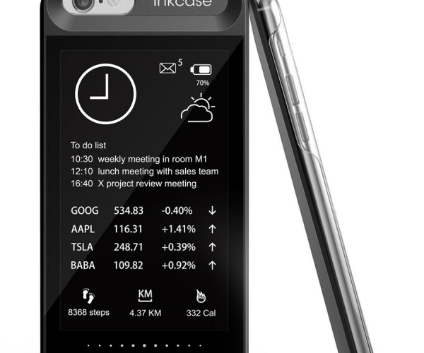 Oaxis inkCase E-ink iPhone 6 Case: Black in Back