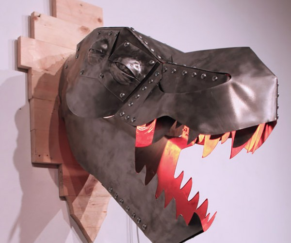 DIY T-Rex Trophy Heat Lamp Looks Best in the Jurassic Dark