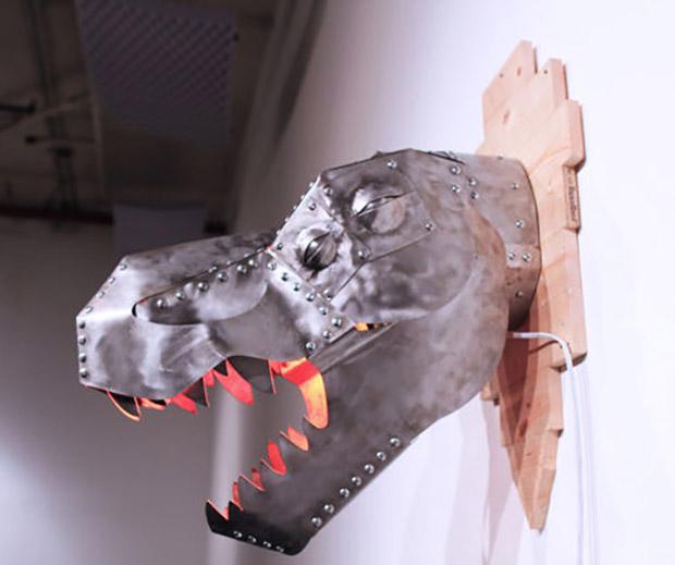 DIY T-Rex Trophy Heat Lamp Looks Best in the Jurassic Dark ...
