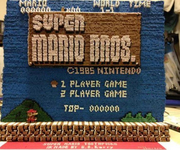 Super Mario Bros. Intro Screen Built from 14,000 Toothpicks