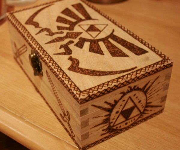 Zelda Triforce Woodburned Box: Take This.