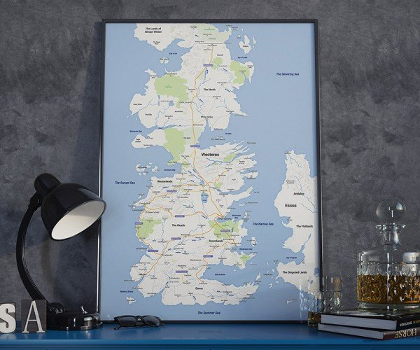 Westeros Google Map Poster Needs Walking, Horseback and Hodor Routes