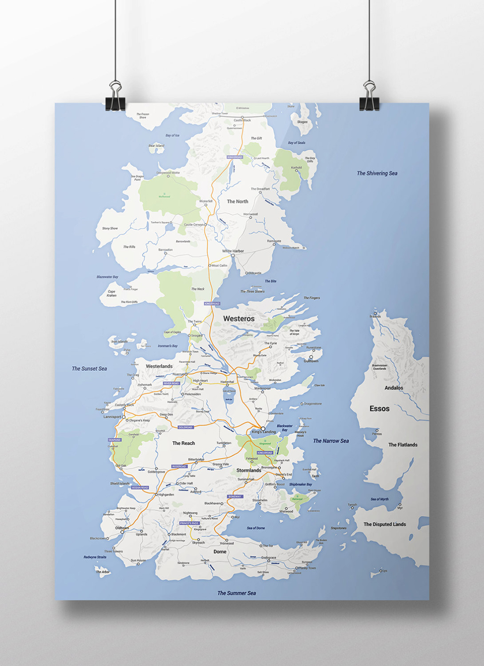Westeros Google Map Poster Needs Walking Horseback And