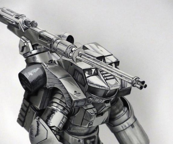Mech Action Figure Looks Like a Drawing Come to Life