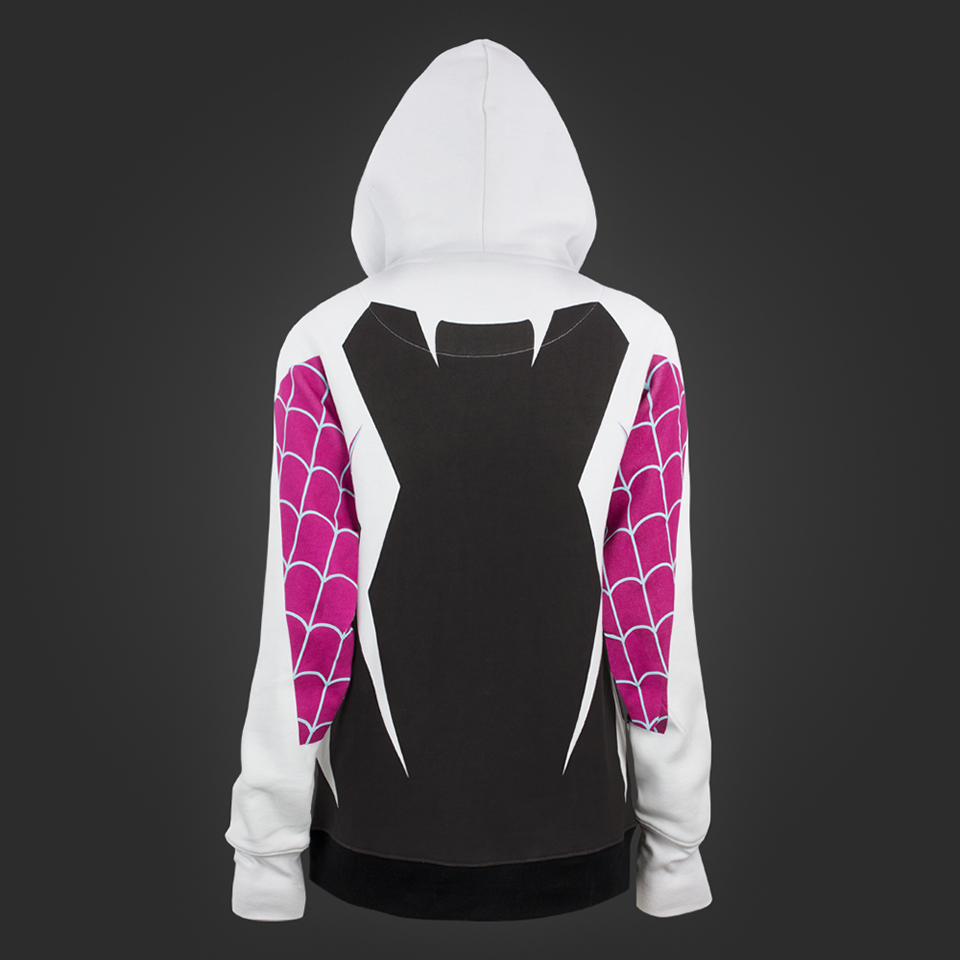 yet striking Spider-Woman costume: a hoodie and a hooded tank top