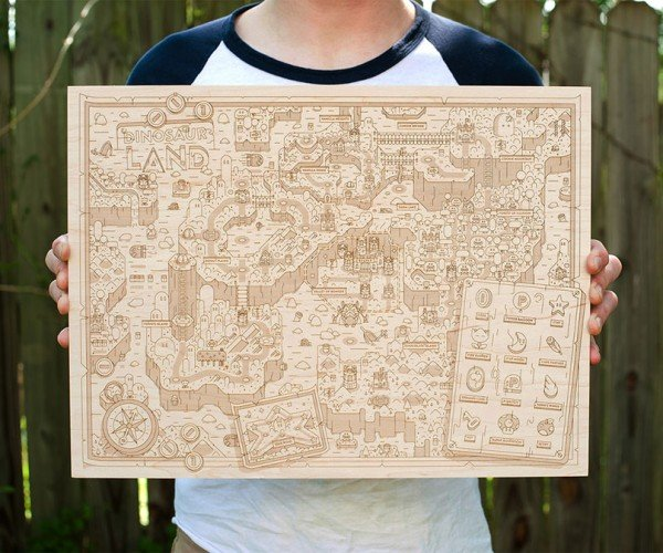 Super Mario World Wooden Dinosaur Land Map: Yoshisaurus Etch