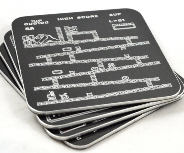 Retro Engraved Aluminum Video Game Coasters