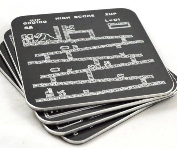 Retro Engraved Aluminum Video Game Coasters