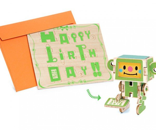 Wooden Greeting Cards: Cardbots Go!