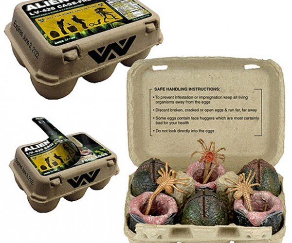 Alien Egg Carton Hides Facehuggers: Eggstra Scary Breakfast