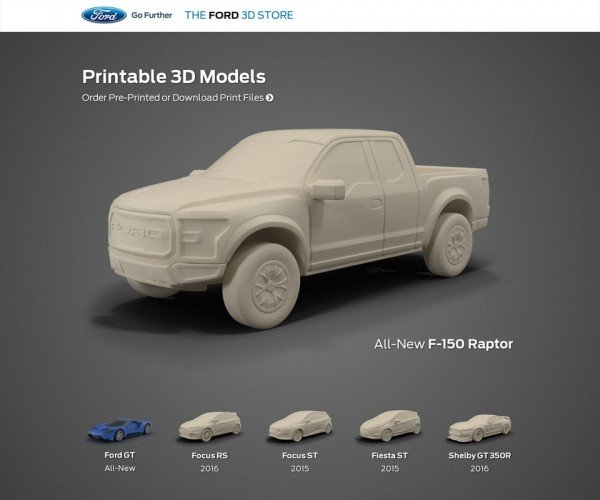 Ford Launches 3D Printed Model Shop, Downloadable 3D Models