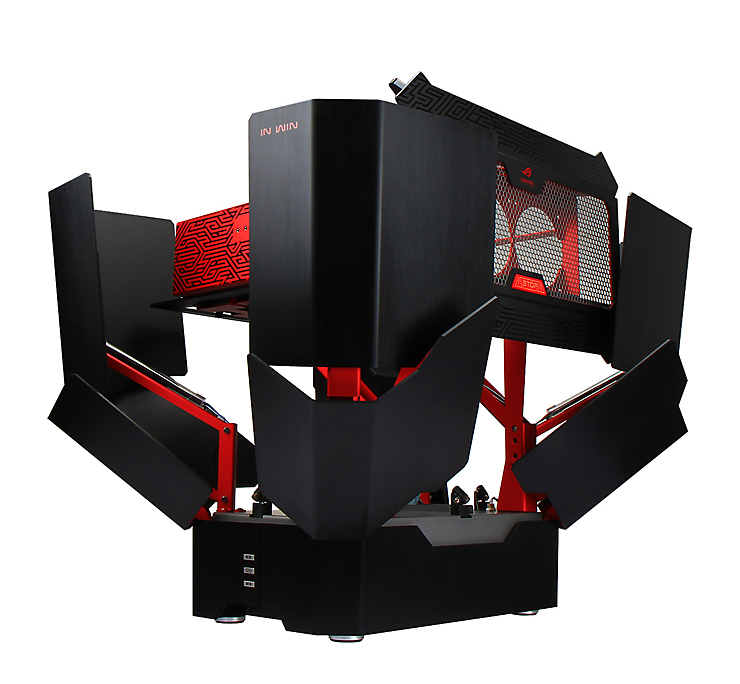 in win h tower pc case opens up at the press of a button bloombot technabob. Black Bedroom Furniture Sets. Home Design Ideas