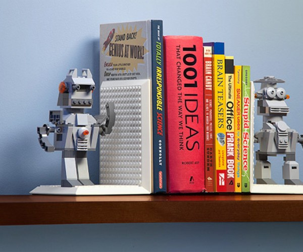 Build On Brick Bookends Hold Books in Blocky Style