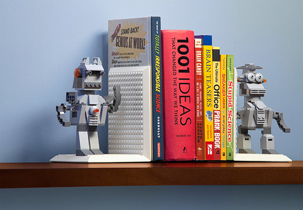 build on brick bookends hold books in blocky style technabob