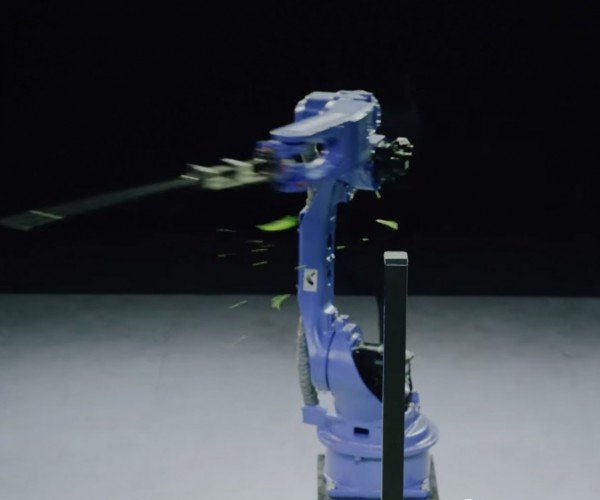 Robot Goes Fruit Ninja with a Katana Sword